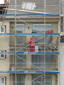 Construction worker on site, doing his job.